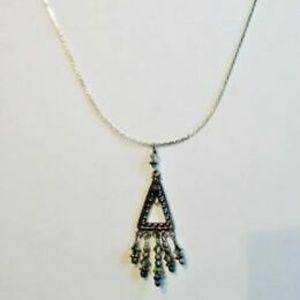 Jewelry - PYRAMID FILIGREE FRINGE CRYSTAL TRIANGLE Necklace